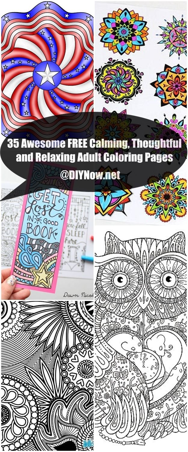 35 Awesome FREE Calming Thoughtful and Relaxing Adult Coloring Pages