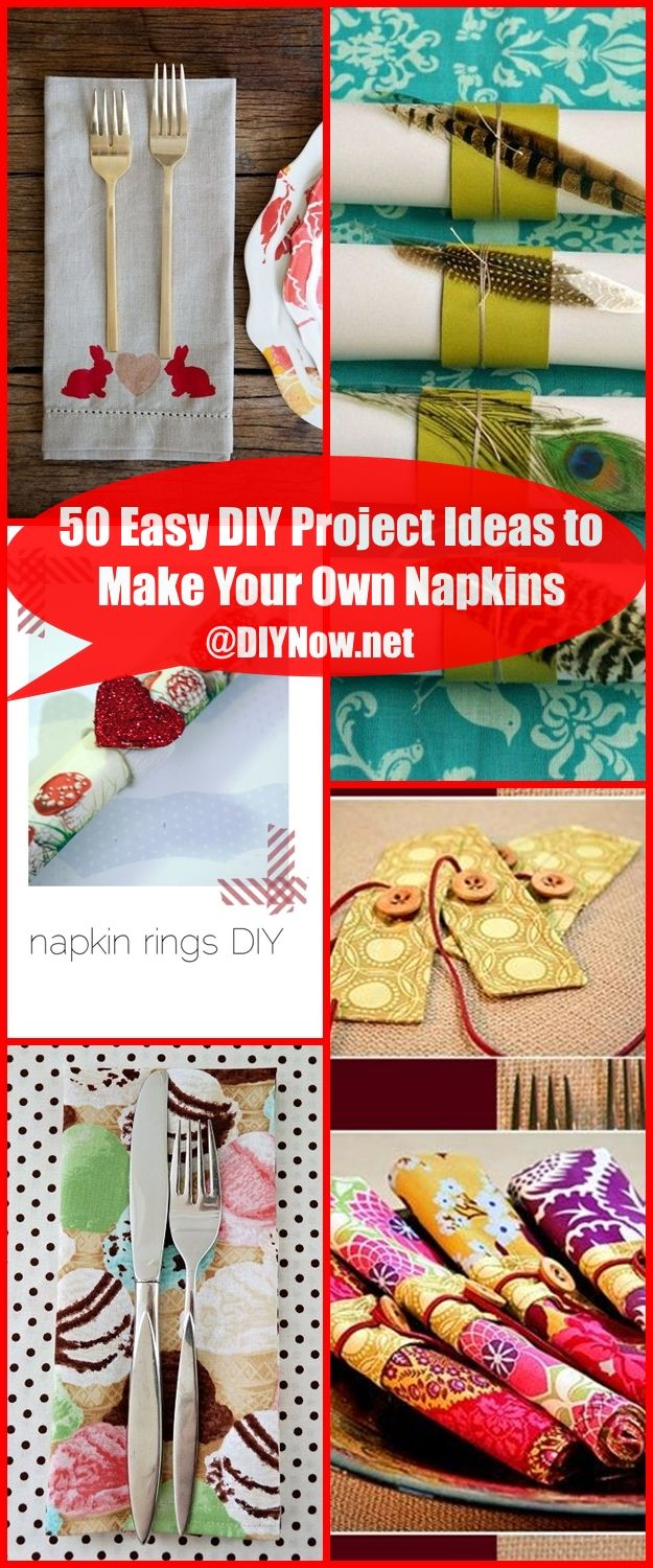 50 Easy DIY Project Ideas to Make Your Own Napkins