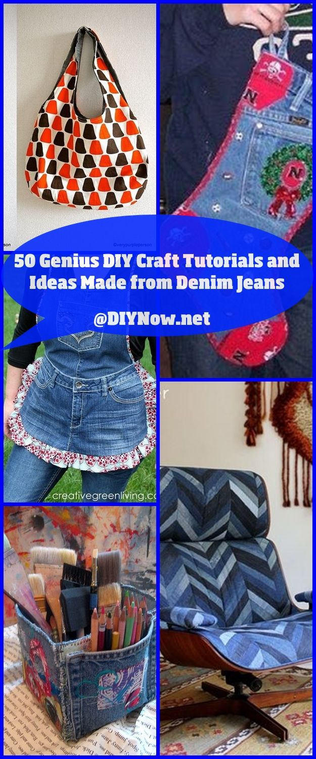 50 Genius DIY Craft Tutorials and Ideas Made from Denim Jeans