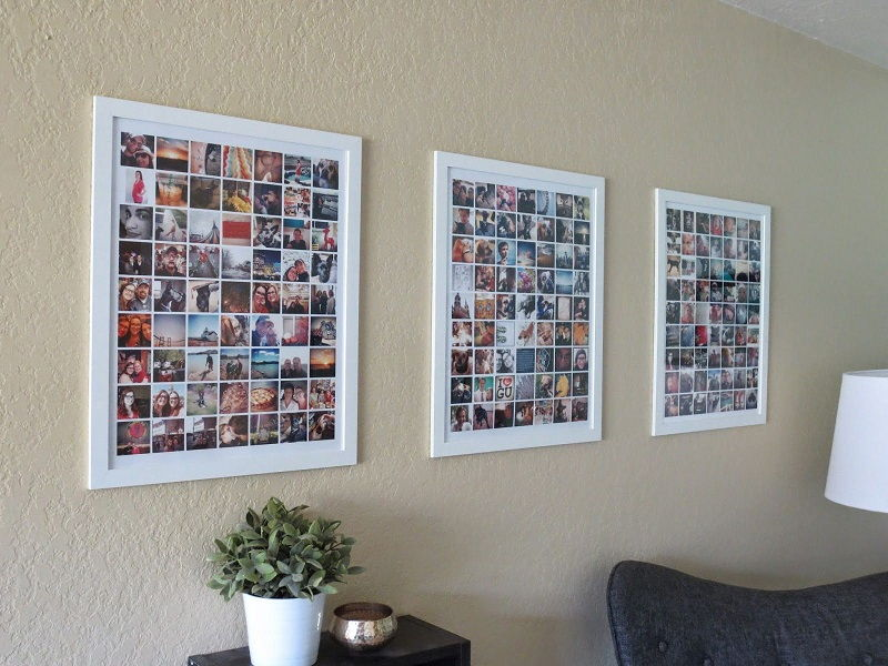 35 creative diy photo collage display ideas for Diy frameless picture frames