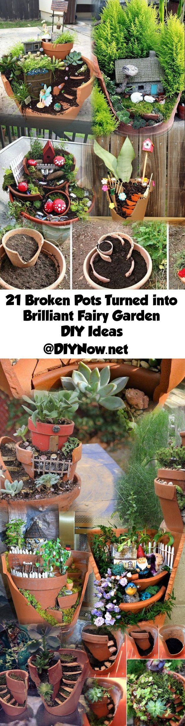 21 Broken Pots Turned Into Brilliant Fairy Garden Diy