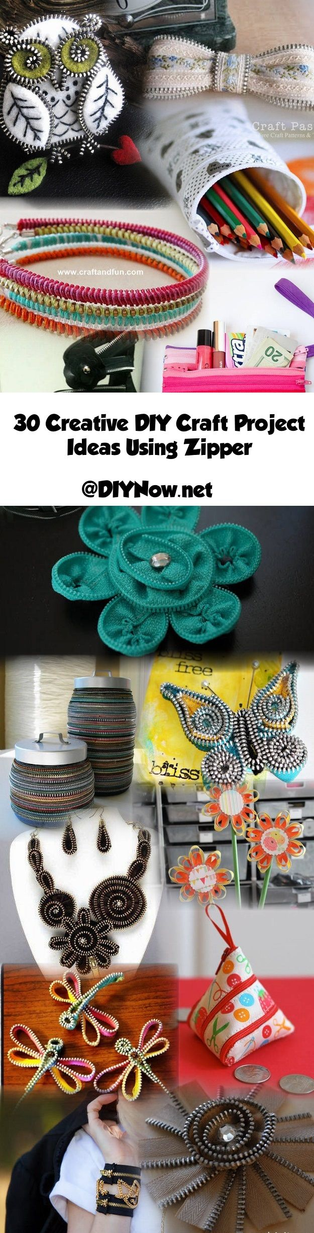30 Creative DIY Craft Project Ideas Using Zipper
