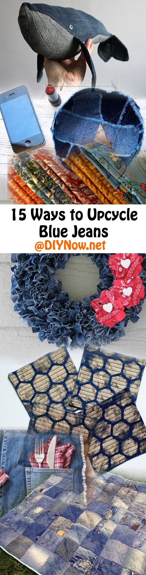 15 Ways to Upcycle Blue Jeans